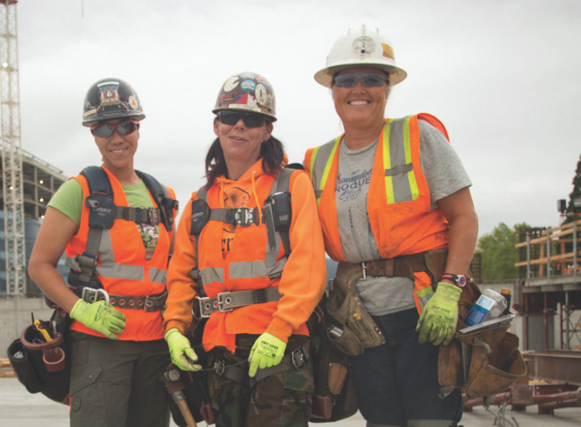 Three women in trades on-site