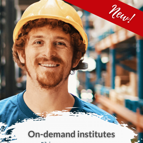On-demand institutes link with a image of a smiling man in a yellow hardhat. Image includes a red banner across the top right corner saying New! Image also has words on-demand institutes.